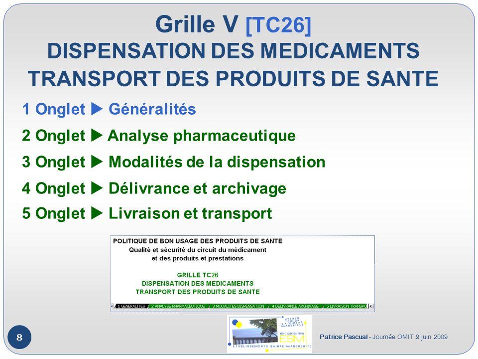 Grille V [TC26] DISPENSATION DES MEDICAMENTS TRANSPORT DES PRODUITS DE SANTE